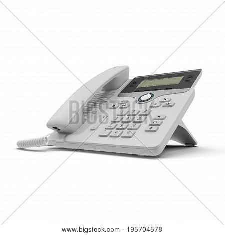 VOIP phone IP phone isolated on a white background. 3D illustration, clipping path