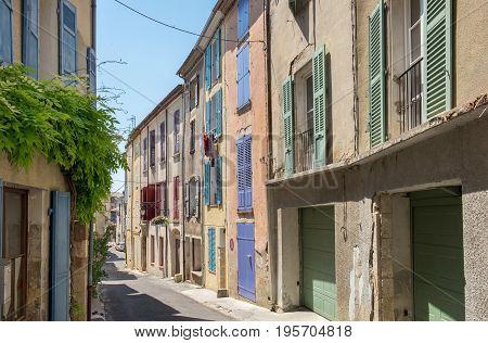 Narrow street in Valensole. Alpes de Haute Provence France