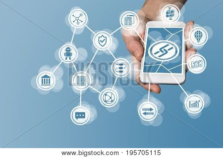 Blockchain icon displayed on touchscreen of modern smart phone as example for fin-tech company