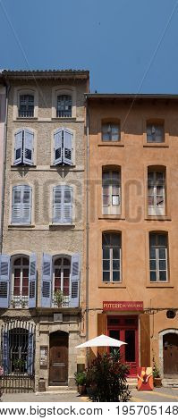 RIEZ, FRANCE - JUNE 19, 2017: Large panoramic view of typical narrow living buildings at Riez. Provence. France