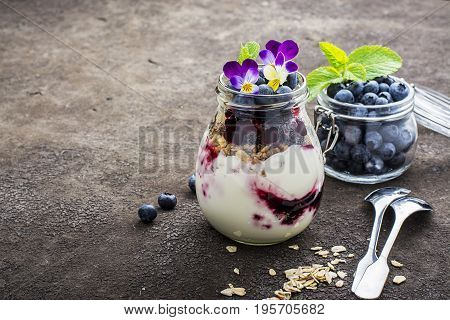 Healthy breakfast in a glass jar: yogurt, berry puree, whole grain cereal cereal, edible flowers, blueberries on a dark background. The concept of proper nutrition