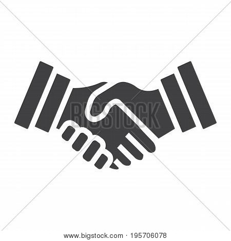 Business handshake solid icon, contract and agreement, vector graphics, a filled pattern on a white background, eps 10.
