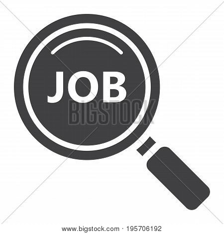 Search job solid icon, business and magnifying, vector graphics, a glyph pattern on a white background, eps 10.