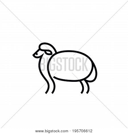 Linear stylized drawing of sheep or ram - for icon or sign template