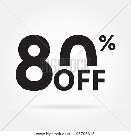 80% off. Sale and discount price sign or icon. Sales design template. Shopping and low price symbol. Vector illustration.
