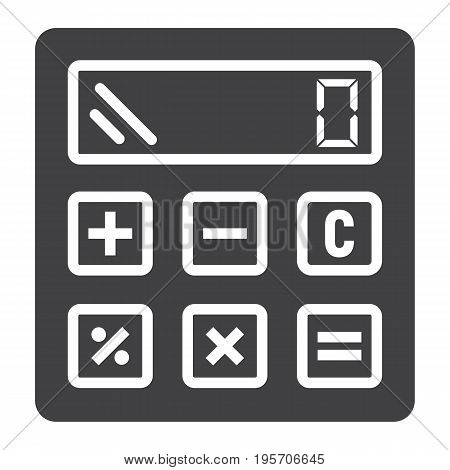 Calculate solid icon, business and calculator, vector graphics, a glyph pattern on a white background, eps 10.