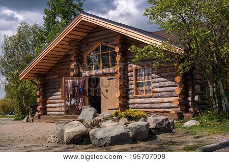 Sortavala, Republic of Karelia, Russia - June 12, 2017: Souvenir shop in a wooden house from logs. In the same house there is the Museum of Ladoga.
