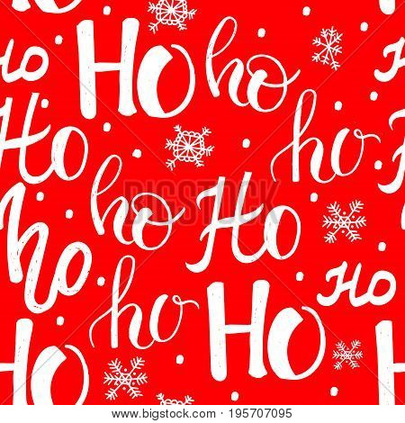 Hohoho pattern, Santa Claus laugh. Seamless texture for Christmas design. Vector red background with handwritten words ho.