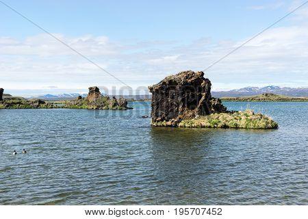 Bizarre lava formations and landscape in lake Myvatn Hofdi Iceland