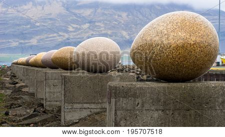 The Eggs of Merry Bay is a new outdoor artwork made by the Icelandic artist Sigurður Guðmundsson. The artwork consists of 34 eggs one representing each of the species of local birds.