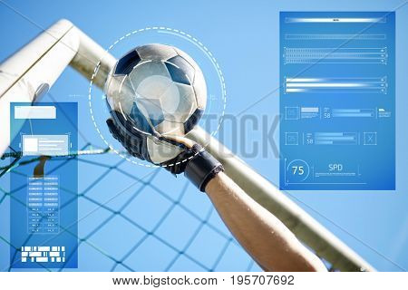 sport, technology and people - soccer player or goalkeeper hand catching ball at football goal over blue sky