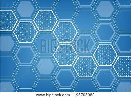 Blockchain blue vector background with hexagonal shaped pattern