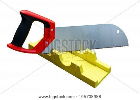 Hand Saw And A Yellow Miter Box To Make Precise Mitre Cuts In A Board. Isolated, White Background.