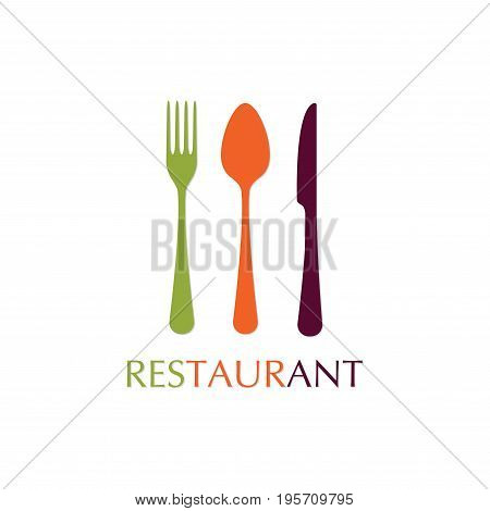 Spoon fork and knife icons. Restaurant emblem template. Colorful vector illustration in flat style.