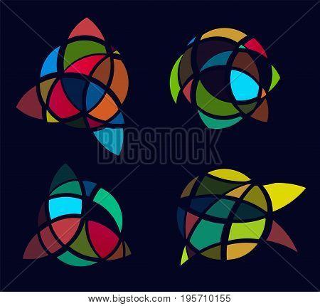 Cubism art picture logos set, colorful stained-glass window. Isolated abstract decorative logo set, ragged logo design element template on black background.