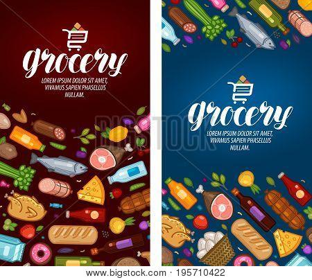 Grocery store, label. Food supermarket banner Vector