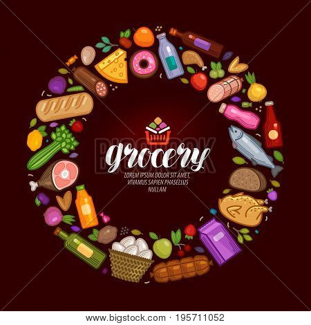 Grocery banner. Food and drinks icons set. Vector