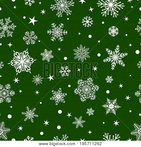 Seamless Pattern Of Snowflakes, White On Green