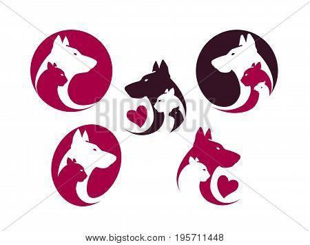Pet shop, label set. Animals, cat, dog, parrot icon or logo. Vector illustration isolated on white background