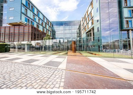 BERLIN, GERMANY - July 07, 2017: View on the modern Federal Parliament offices during the morning on the Spree river in Berlin