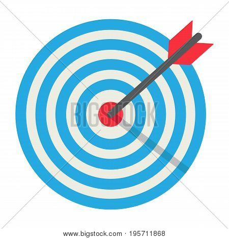 Target flat icon, business and dartboard, vector graphics, a coloful solid pattern on a white background, eps 10.