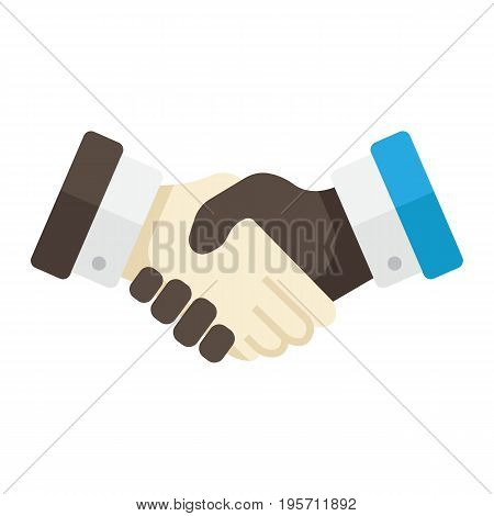 Business handshake flat icon, contract and agreement, vector graphics, a colorful solid pattern on a white background, eps 10.