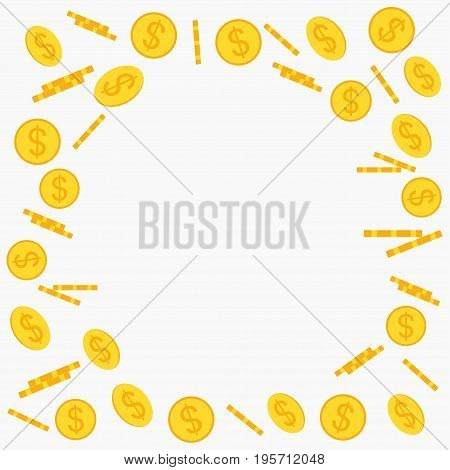 Gold coins flying and falling frame in different positions. Prize, cash winnings, lottery, poker slots background