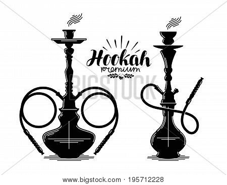 Hookah label set. Shisha, hooka icon or symbol. Vector illustration isolated on white background