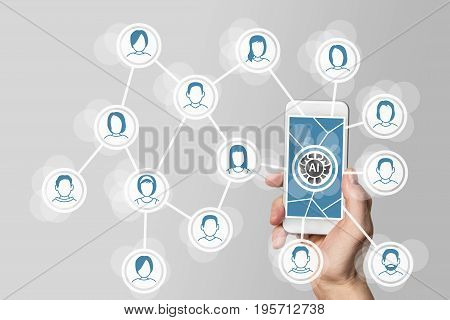 Artificial intelligence and deep learning concept in social and mobile networks