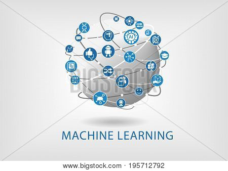 Vector infographic of machine learning concept with icons and globe