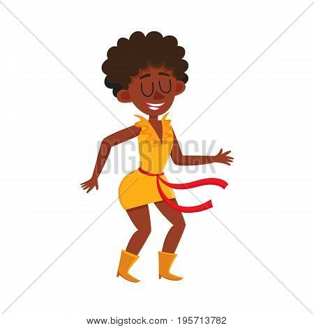 Pretty black, African American woman, retro disco dancer, cartoon vector illustration isolated on white background. Young black African American woman dancing at retro disco party, having fun