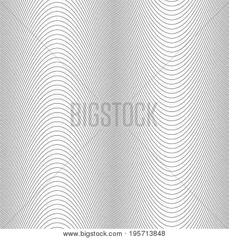 Monochrome abstract wave line pattern background - vector graphic design from thin black stripes on white