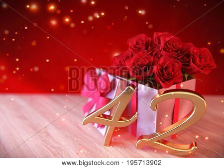 birthday concept with red roses in the gift on wooden desk. 3D render - forty-second birthday. 42nd