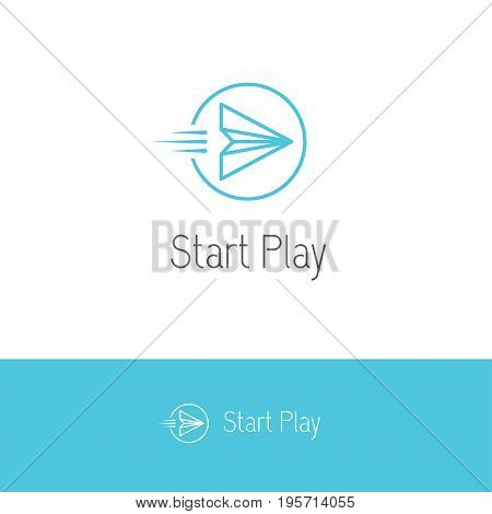 Creative linear logo with flying paper plane looking like a play or start button in a shape of circle. Multimedia audio or video player icon.
