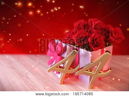 birthday concept with red roses in the gift on wooden desk. 3D render - forty-fourth birthday. 44th
