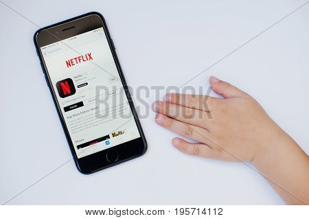 Kyiv, Ukraine - Jul 11,2017: Apple Iphone 7 With Netflix Application On The Screen Isolated On White