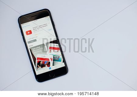 Kyiv, Ukraine - Jul 11,2017: Apple Iphone 7 With You Tube Application On The Screen At App Store Iso