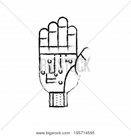 figure hand with circuits and cyberspace interface connection vector illustration