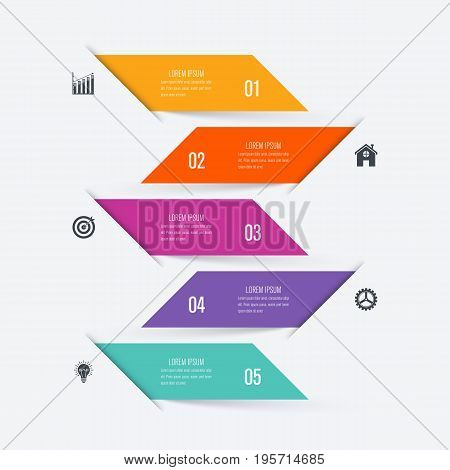 Vector illustration infographic five options. Stock vector