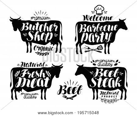 Butcher shop, barbecue party label set. Meat, beef steak, bbq icon or logo. Vector illustration