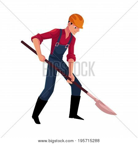 Construction worker, builder in overalls and hardhat digging with shovel, cartoon vector illustration isolated on white background. Full length portrait of builder, worker digging on construction site