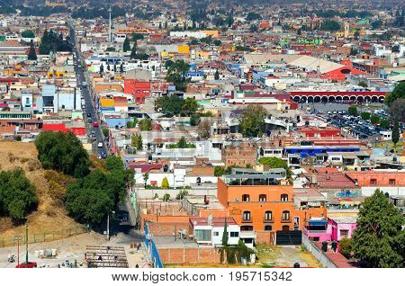 CHOLULA MEXICO - MARCH 1: View of downtown Cholula Mexico on March 1 2017