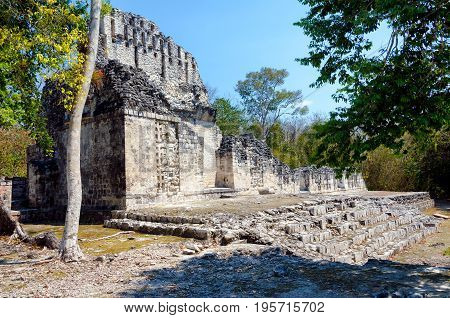 View of temple in Chicanna Mayan ruins in the Yucatan peninsula Mexico