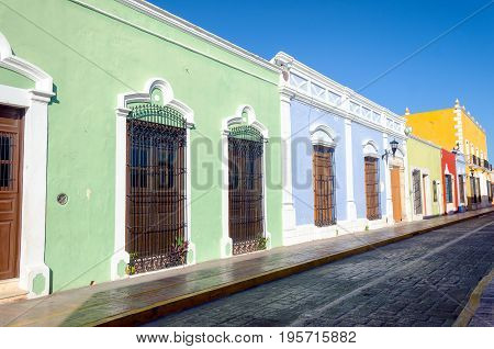 Tipycal colonial street downtown in Campeche Mexico