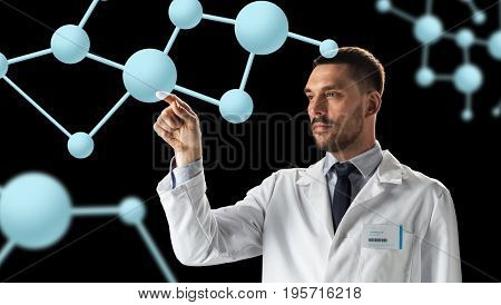 science, biology and people concept - doctor or scientist in white coat with molecules over black background