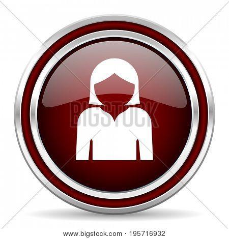 Profile avatar red glossy icon. Chrome border round web button. Silver metallic pushbutton.