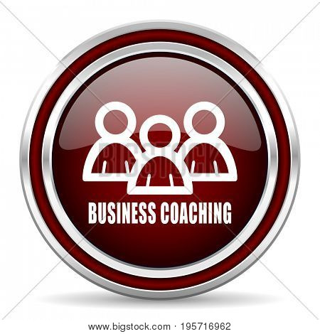 Business coaching red glossy icon. Chrome border round web button. Silver metallic pushbutton.
