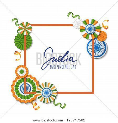 15th of August India Independence Day. Vector paper stars in Indian flag colors ashoka wheel hand drawn calligraphy. Holiday frame for greeting card banner layout flyer poster.