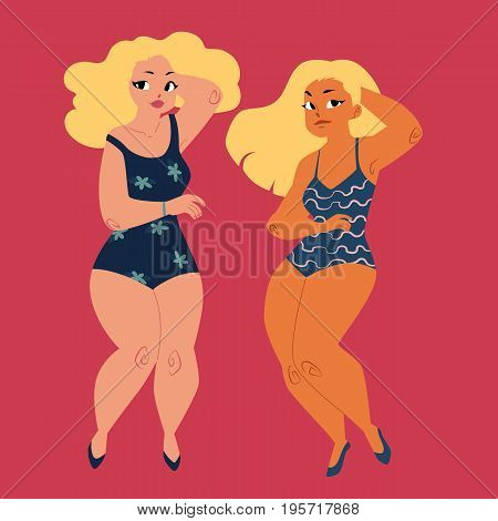 plump, curvy women, girls, plus size models in swimming suits, top view cartoon vector illustration isolated on red background. Beautiful plump, overweight women, girls in swimming suits