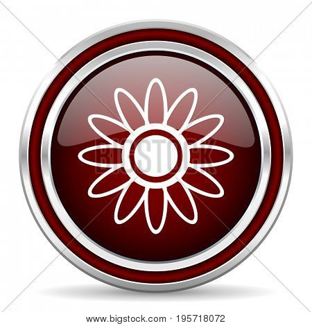 Flower red glossy icon. Chrome border round web button. Silver metallic pushbutton.